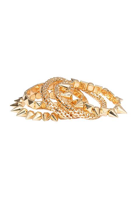 Studs Spikes Gold Bracelets Stack