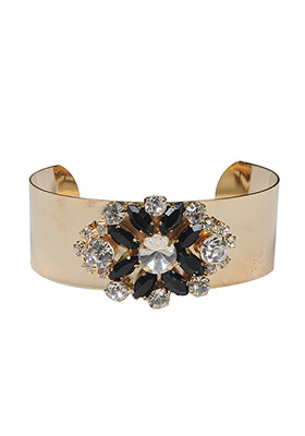 Monochrome Crystals Gold Cuff