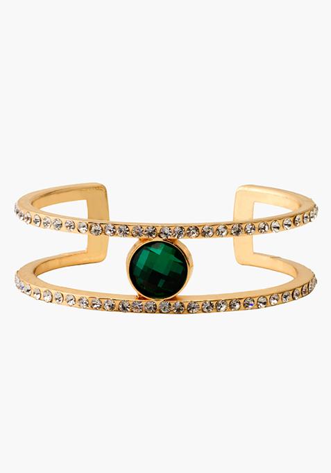Green Stone Open Bracelet