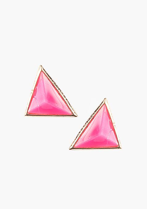 Triangle Stud Earrings - Pink