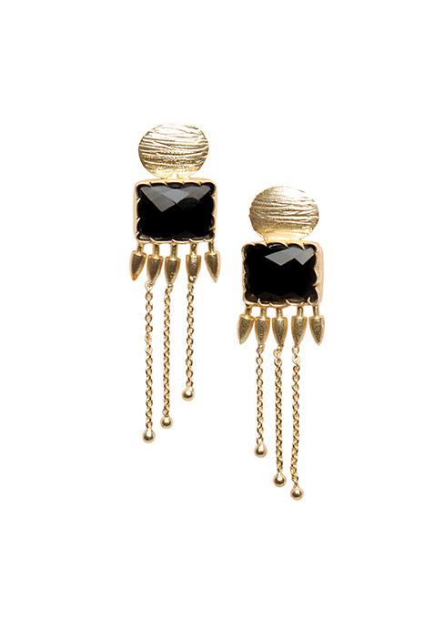 Black Stone Tribal Earrings