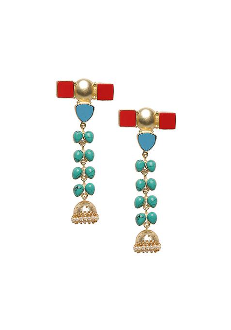 Long Turquoise Jhumki Earrings
