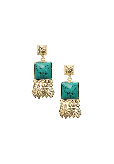 Turquoise Square Fringe Earrings