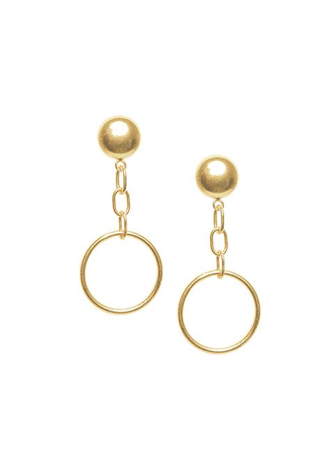 Gold Circular Drop Earrings