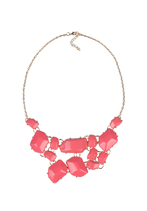 Coral Asymmetric Necklace