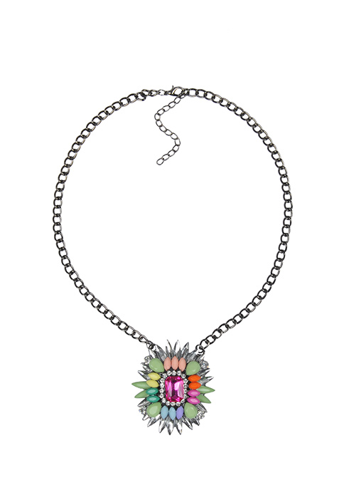 Multicolor Crystals Necklace - Pink
