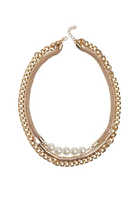 Gold Tiered Pearl Necklace