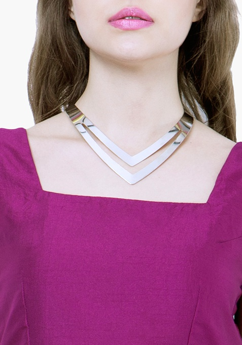 Triangle Hollow Silver Choker
