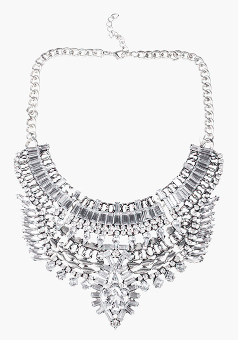 Silver Floral Statement Necklace