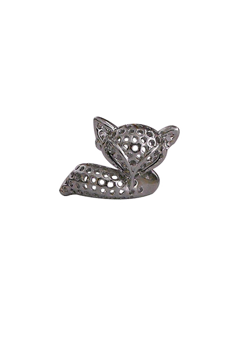 Fox Face Silver Ring