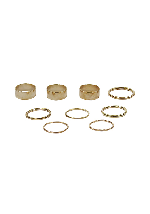 Sleek & Wide Gold Midi Rings - Set of 9