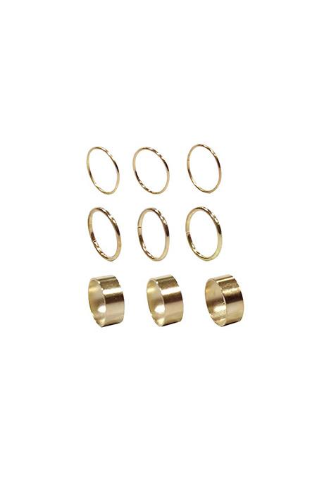Sleek & Wide Gold Midi Rings - Set of 9