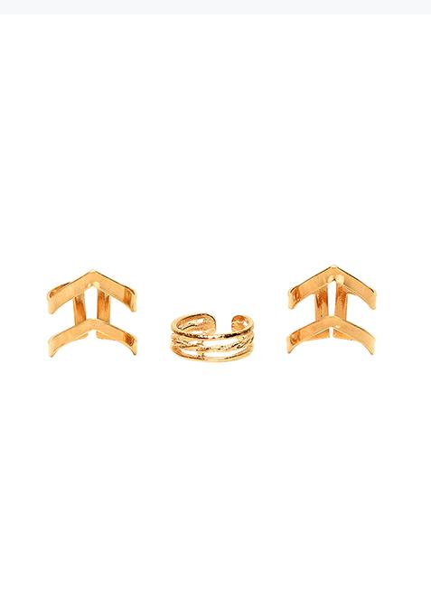 Cuff Ring Trio Set