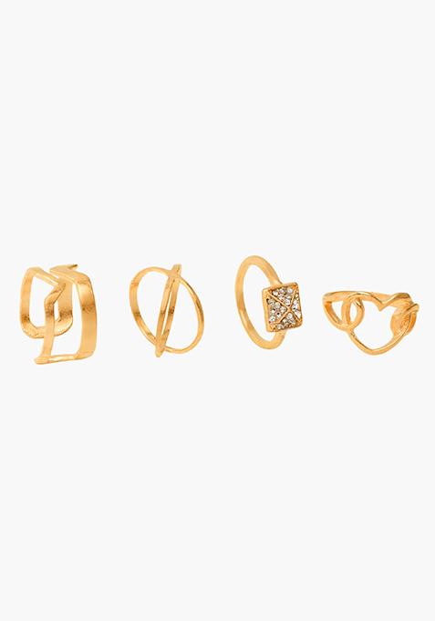 Gold Diverse Rings Set - 4