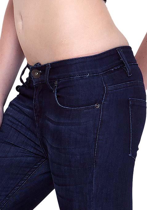 Distressed Skinny Jeans - Dark Wash