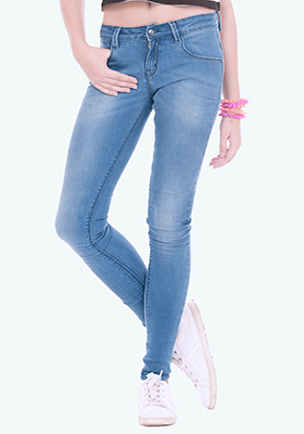 Distressed Skinny Jeans - Mid Blue