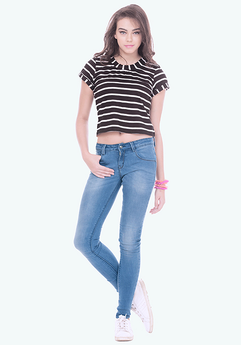 Distressed Skinny Jeans - Mid Blue