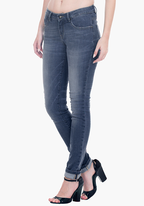 Ripped Skinny Jeans - Light Wash