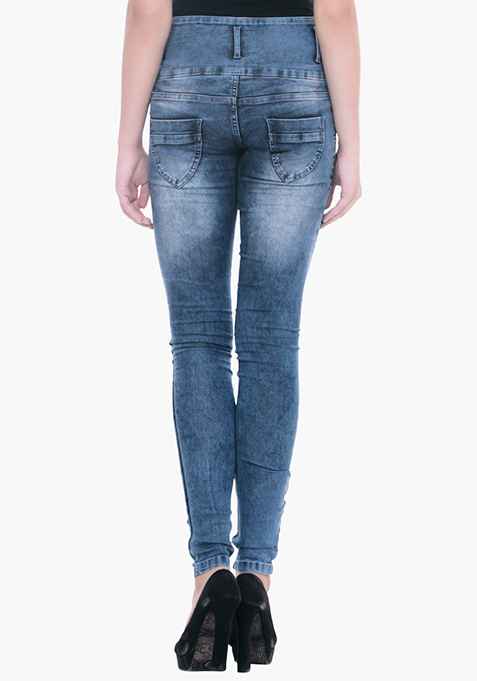 High-Rise Skinny Jeans - Mid Blue