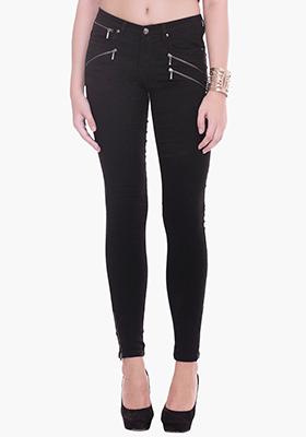 Zippered Black Skinny Jeans