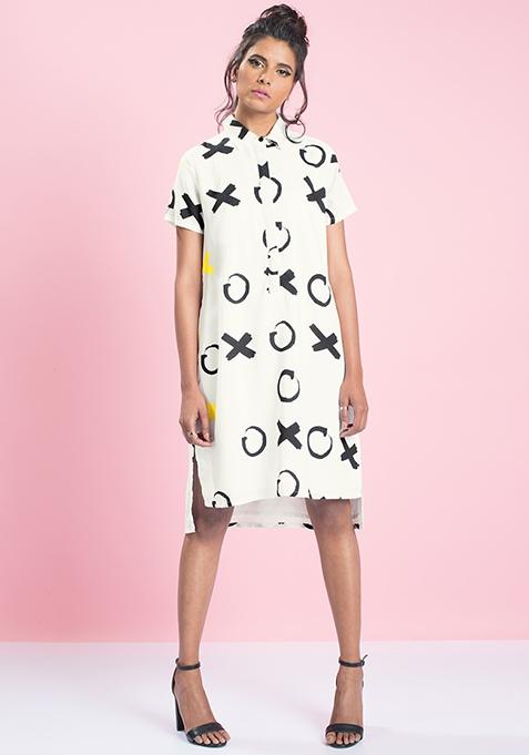 MasabaXFabAlley High-Low Shirt Dress - Tic Tac Toe