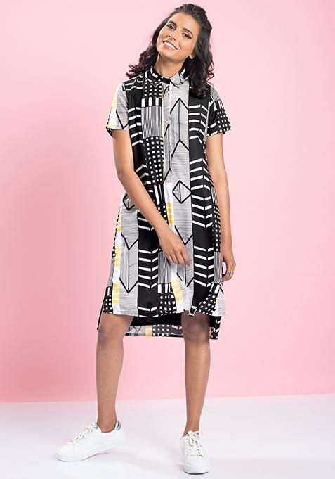 MasabaXFabAlley High-Low Shirt Dress - Aztec