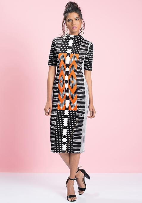 MasabaXFabAlley Aztec Bodycon Dress - Orange