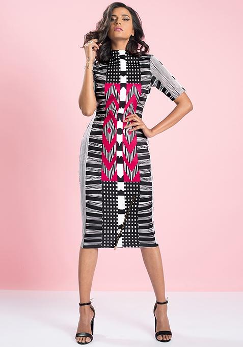 MasabaXFabAlley Aztec Bodycon Dress - Pink