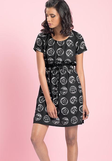 MasabaXFabAlley Coin Drawstring Dress - Black