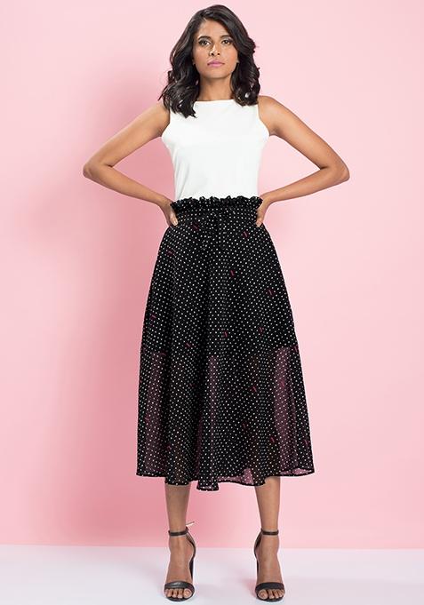 MasabaXFabAlley Paperbag Waist Midi Skirt - Polka