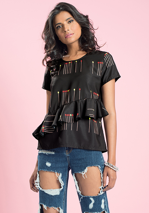 MasabaXFabAlley Matchsticks Ruffled Top