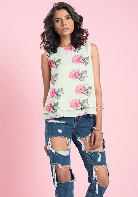 MasabaXFabAlley Floral Layered Tank Top