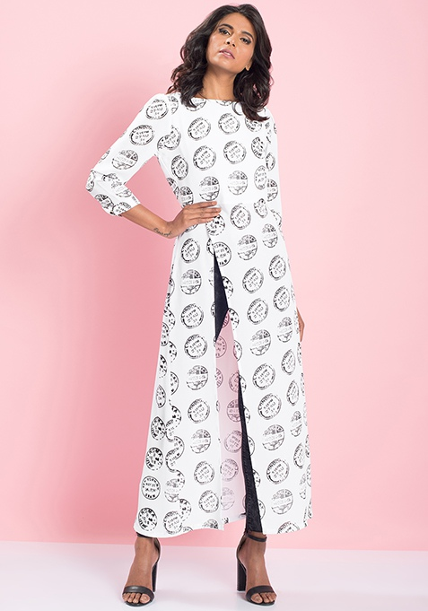 MasabaXFabAlley Side Slit Maxi Top - Coin Stamp