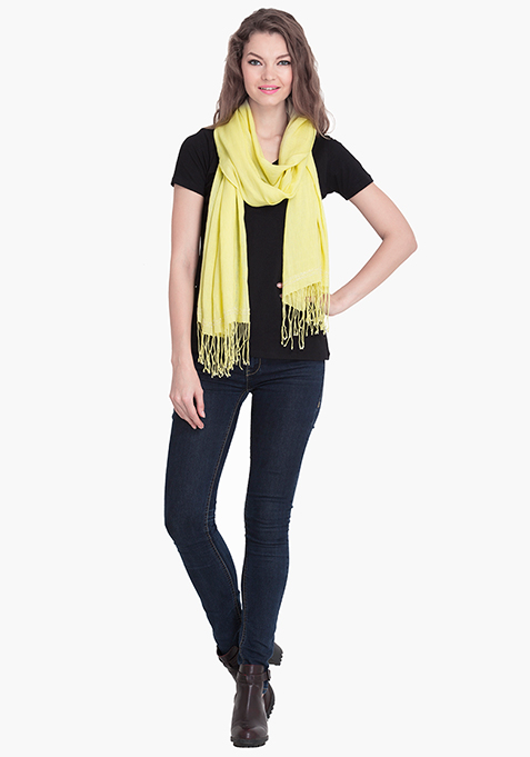 Yellow Embellished Scarf