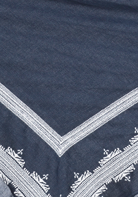 White Embroidered Navy Scarf