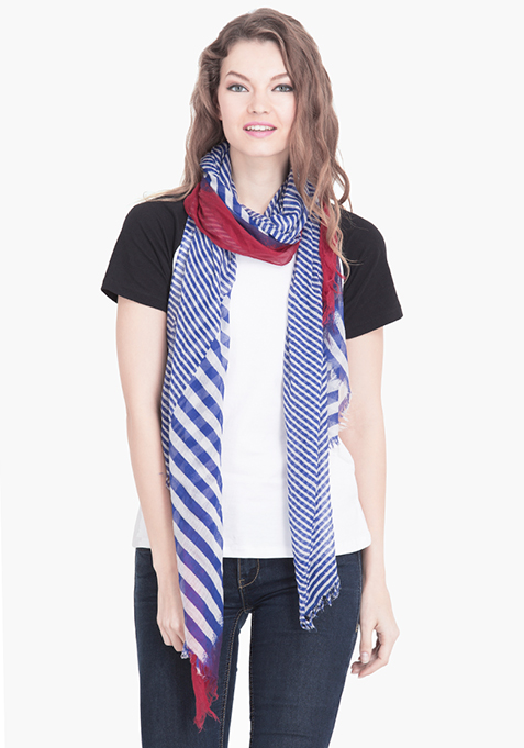 Red & Blue Striped Scarf