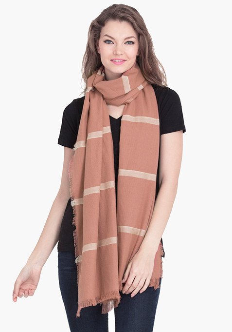 Brown & White Striped Scarf