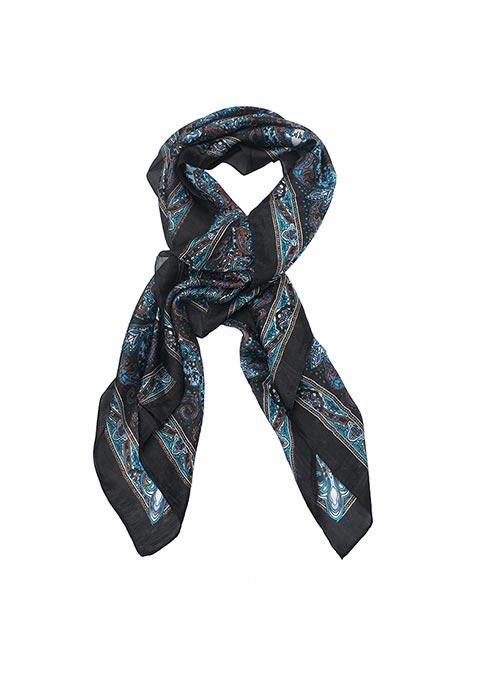 Blue Black Paisley Scarf