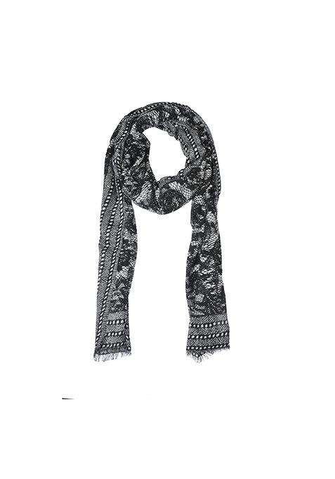Lace Print Scarf - Black