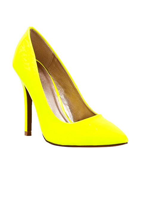 Qupid POTION Pointed Toe Neon Pump - Yellow