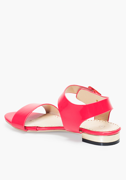 Pink Strappy Flat Sandals