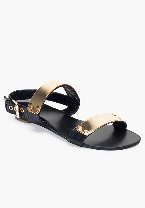 Gold Bar Flat Sandals - Black