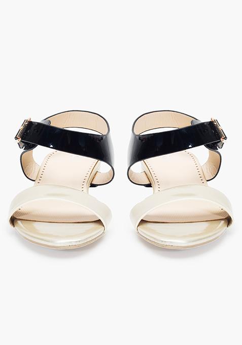 Black Gold Strappy Sandals