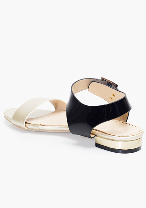 Black Gold Strappy Sandals