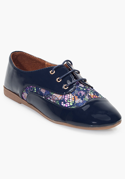 Floral Lace Shoes – Navy