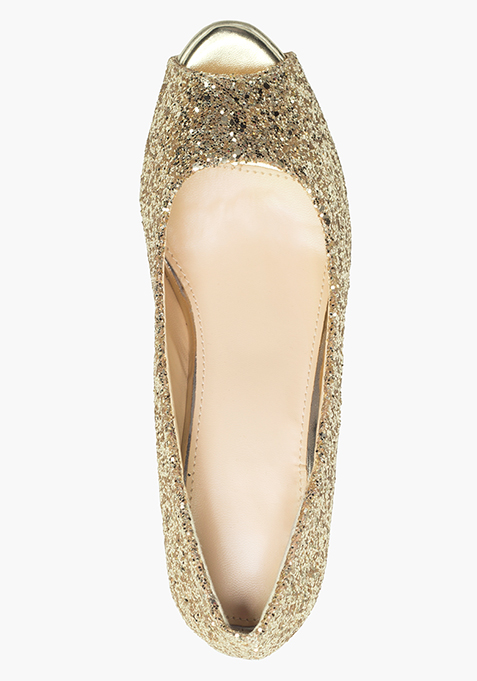 Glitter Glamour Peep-Toes - Gold