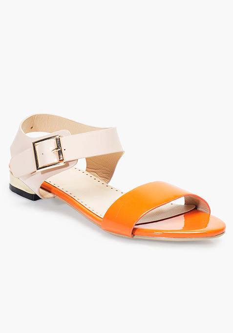 Beige Orange Flat Sandals