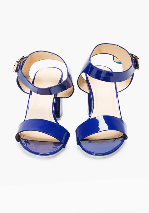Block Heeled Sandals – Blue
