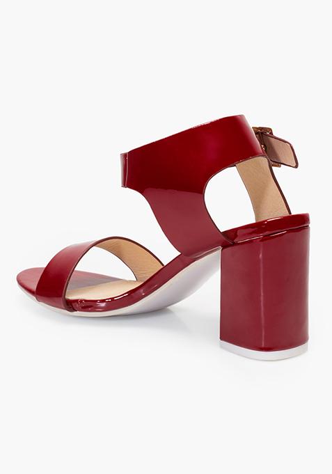 Block Heeled Sandals - Red