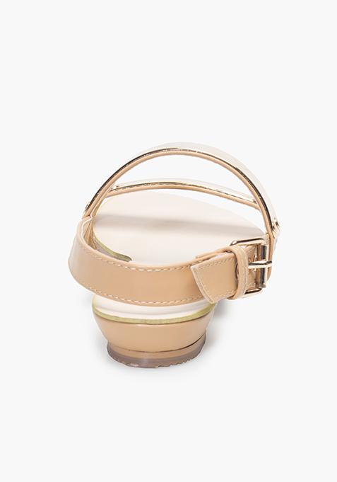 Gold Bar Flat Sandals - Beige